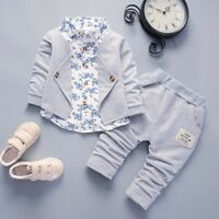 Toddler Kids Baby Boys Gentleman Bow Shirt+Jeans Wedding Party Suit Clothes Set