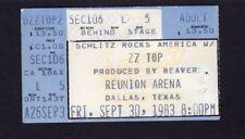 Original 1983 Zz Top Albert King concert ticket stub Dallas Tx Eliminator