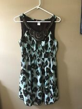 Ladies Dress sS. TRIXXI brand. Sleeveless , green/brown color . wood beaded top