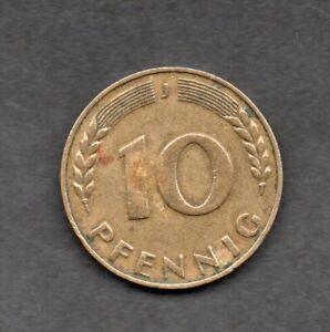 1949 ( J ) ***Federal West Germany*** Deutschland 10 Pfennig Coin Vintage