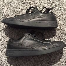 Puma Black Leather Athletic Sneakers Boys Youth Size 5.5