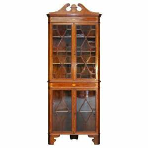 STUNNING ANTIQUE SHERATON REVIVAL ASTRAL GLAZED INLAID CORNER BOOKCASE CABINET