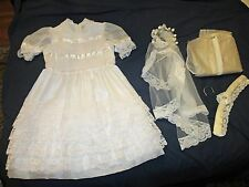 Vintage Girls Confirmation 1st Communion Dress & Rose Veil pearl neck, netting