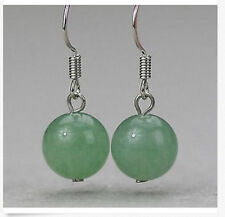 Round Beads Silver Hook Earrings New 10mm Light Green Emerald Jade