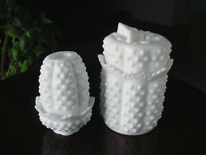 1970 FENTON HoBNaiL Milk Glass BuTTeRFLy Candy Dish Jar Fairy Lamp Candle Holder