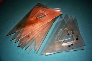 Lot Vintage Mechanical Drawing Drafting Triangle CHARVOZ, Service Reproduction