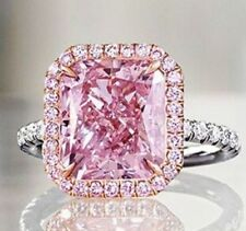 3.85CT Pink Radiant Cut Diamond Certified Anniversary Engagement Ring in14K Gold