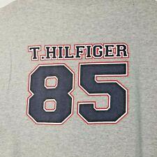Vtg 90s Mens Tommy Hilfiger Spellout 85 Flag Grey Long Sleeve T Shirt Sz 2Xl