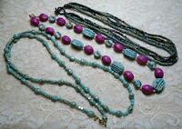 VINTAGE TO NOW ASSORTED PURPLE & BLUE GREEN WOOD & LUCITE BEADED NECKLACE LOT