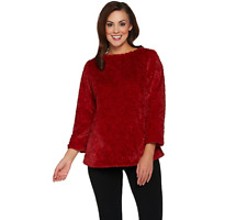 Dennis Basso Brushed Rose Faux Fur Pullover Top Size S Cardinal Red Color