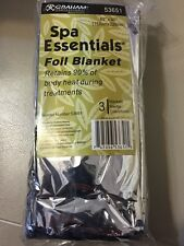 "Graham Spa Essentials Silver 62"" x 90"" Mylar Foil Blanket Pack of 3 FREE s/h"