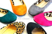 Women NEW Color Ballet Flats Low Heel Round Toe Fux Suede Comfy Causal Shoes