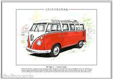 Volkswagen Microbus deluxe 21-window SAMBA VW TIPO 2 - Stampa artistica - A4