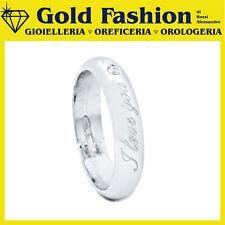 Anello fedina argento Tit.925 con incisione e diamante ct 0.02 - Thy Italy FE21
