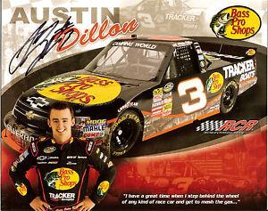 2011 AUSTIN DILLON signed NASCAR PHOTO CARD BASS PRO SHOPS RCR CHEVY RACING hero