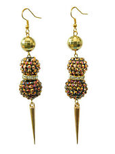 Shamballa Style Gold with Colourful Shadow Resin Disco Balls Spike Earrings E277