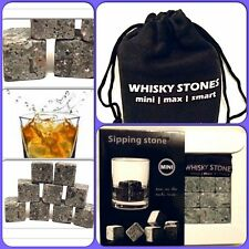 Boxed Gift Whisky Sipping Stones Granite & Pouch Available in 6 colour