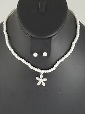 Kids Silver and White Pearl Floral Crystal FASHION Necklace Set