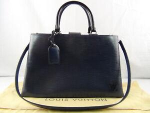 US seller Authentic LOUIS VUITTON EPI KLEBER MM 2 WAYS BAG Good LV INDIGO COLOR