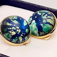 Vintage 1950s Blue Green Fire Glass Opal Gold tone Clip on Earrings 2cm wide