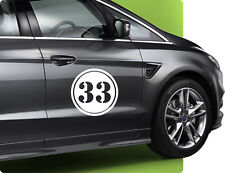 30cm Rennnummer Startnummer Nummer Zahl Rally Autoaufkleber Wunschnummer Nr.30