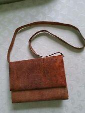 Vintage Genuine Snake Skin Purse/Shoulder Bag- Brown with Leather interior