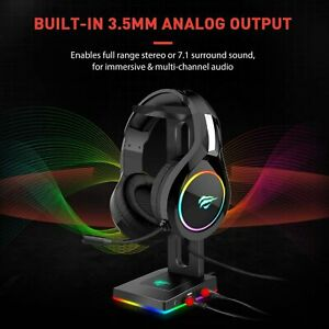 Havit RGB Headphones Stand with 3.5mm AUX and 2 USB Ports, Headphone Holder