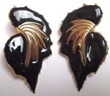 Bijou boucle d'oreille percées imposantes légères couleur or émail noir 3314