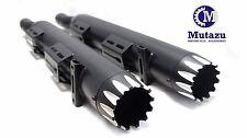 "MUTAZU Black 4"" Thunder VM01 Slip On Mufflers Exhaust Victory Cross Country Road"