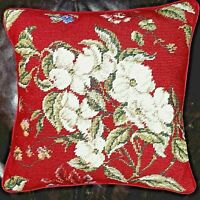 Needlepoint Pillow Floral Holiday Christmas Motif by Williamsburg