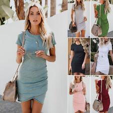 UK Womens Asymmetric Bodycon Short Sleeve Holiday Ladies Summer Party Mini Dress