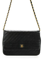 Chanel Womens Leather Diagonal Vertical Quilted Flap Handbag Black