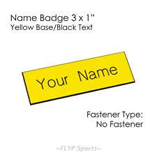 "Name Badge Tag Plate Yellow/Black NO FASTENER 3x1"" Personalised Engraved Name..."