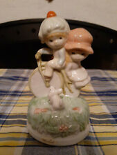 Porcelain Music Box With Boy & Girl On Bicycle With Dog-Summit Exclusive