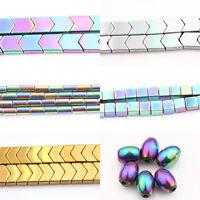 "Lots Hematite Gemstone Tube Square Cube Oval ""V"" Beads Metallic Multi-Colored"