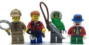 LEGO LOT OF 4 SERIES MINIFIGURES DETECTIVE FISHER MAN CLOWN COLLECTIBLE FIGS
