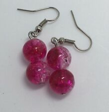 Pink And Clear Crackle Glass Drop Earrings 4 Cm Long Silver Colour Hooks. D216