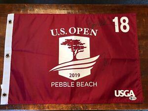 Danny Willett Bryson DeChambeau Signed 2019 US Open Flag Beckett BAS Coa Golf