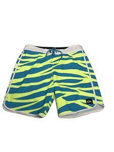Men's Quicksilver Board Shorts Neon Yellow Wavy Blue Size 33 Surf
