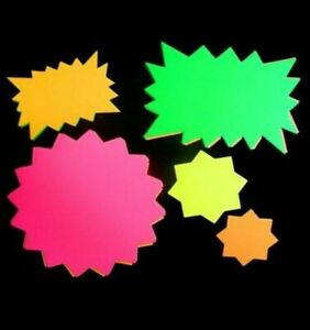 50 x Neon Fluorescent Stars Flash Price Display Tags Fluorescent Labels Shop tag