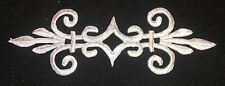 metallic silver embroidery patch lace applique motif venise irish dance costume