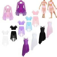 Kids Girls Dance Leotards Dress Gymnastics Latin Ballet Lyrical Skirt Costume