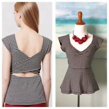 DELETTA Anthropologie Neo-Gingham Crossback Tee checkered open back cut out S