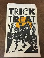 Vintage Halloween Paper Trick or Treat Candy Bag witch ghost haunted house