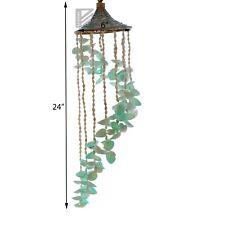 White & Green Sea Shells Windchime with Hat 6x24 Seashell Chimes