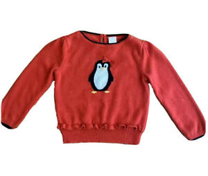 Janie and Jack Girls' Sweater Pinguin Design, Red, Size 3 Usa Kids