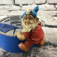 """3"""" Garden Nome Red Clothes Blue Hat White Beard Hang Clip Grips To Flower Pot"""