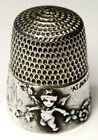 Antique Simons Bros  Sterling Silver Thimble   Cupid    AM  Monogram  Dated 1905
