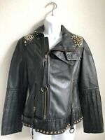 EUC Diesel Sheep Leather Jacket with Metal Studs Buckles Zippers  and Pockets