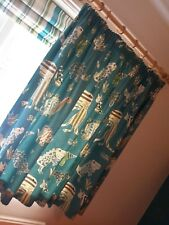 Kids Teal coloured bedroom curtains & cushions in Dinosaur fabric by Harlequin